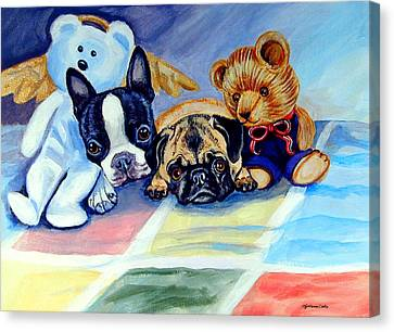 Pug Dog Canvas Print - Mom Can She Stay Over - Pug And Boston Terrier by Lyn Cook