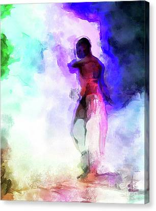 Moment In Blue - African Dancer Canvas Print