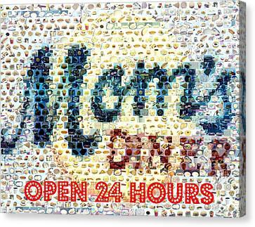 Moms Diner Food Mosaic Canvas Print by Paul Van Scott
