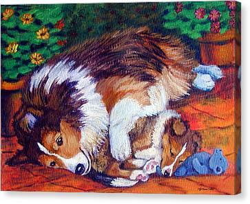Mom's Love - Shetland Sheepdog Canvas Print