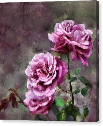 Canvas Print featuring the digital art Moms Roses by Susan Kinney