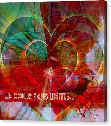 Canvas Print featuring the digital art Mon Coeur - My Heart by Fania Simon