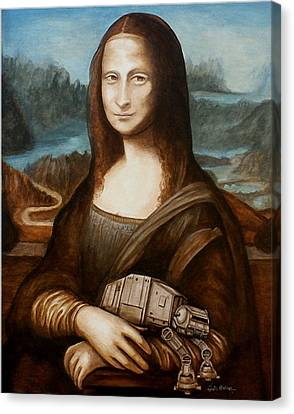 Canvas Print featuring the painting Mona Lisa What You Smiling At At by Al  Molina
