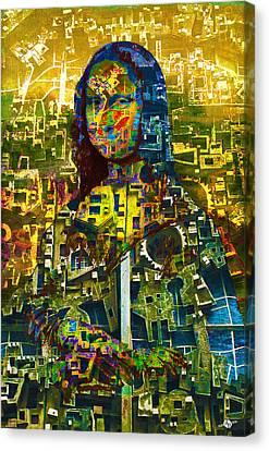 Canvas Print featuring the mixed media Mona by Tony Rubino