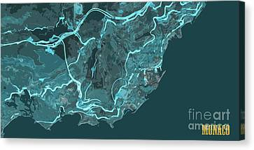 Monaco Old Abstract Traffic Blue Map Canvas Print by Pablo Franchi