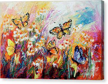 Canvas Print featuring the painting Monarch Butterflies And Chamomile Flowers by Ginette Callaway