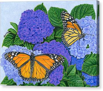 Monarch Butterflies And Hydrangeas Canvas Print by Sarah Batalka