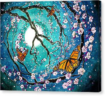 Monarch Butterflies In Teal Moonlight Canvas Print by Laura Iverson