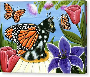 Monarch Butterfly Fairy Cat Canvas Print