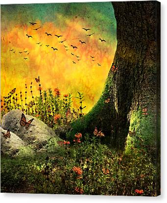 Monarch Meadow Canvas Print by Ally  White