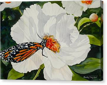 Monarch On A Poppy Canvas Print