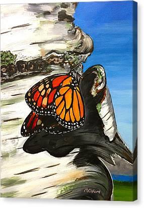 Monarch On Birch Canvas Print