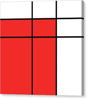 Mondrian Style Minimalist Pattern In Red Canvas Print