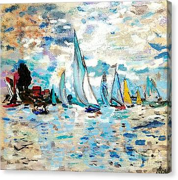 Monet Boats On Water Canvas Print by Scott D Van Osdol