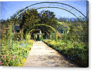 Monet House And Spring Garden In Giverny Canvas Print by David Smith