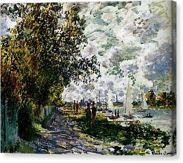 Gennevilliers Canvas Print - Monet The Riverbank At Gennevilliers by Claude Monet