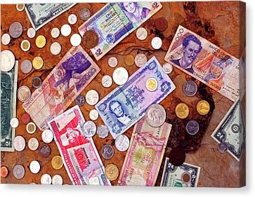 Money From Around The World Canvas Print by Thomas R Fletcher