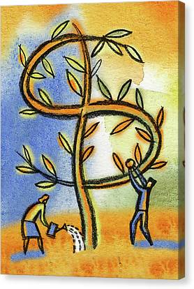 Canvas Print featuring the painting Money Tree by Leon Zernitsky