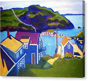 Fishing Shack Canvas Print - Monhegan Harbor by Debra Bretton Robinson