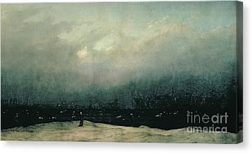 Monk By Sea Canvas Print by Caspar David Friedrich