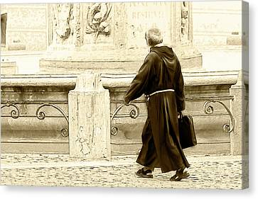 Canvas Print featuring the photograph Monk by John Hix