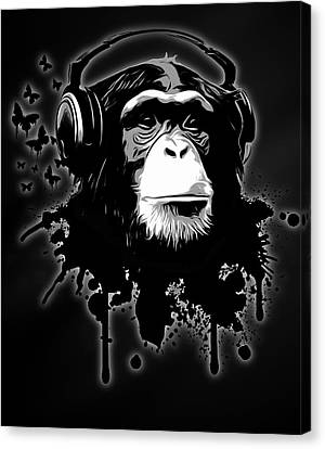 Chimpanzee Canvas Print - Monkey Business - Black by Nicklas Gustafsson