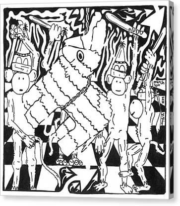 Monkey Pinata Party Canvas Print by Yonatan Frimer Maze Artist