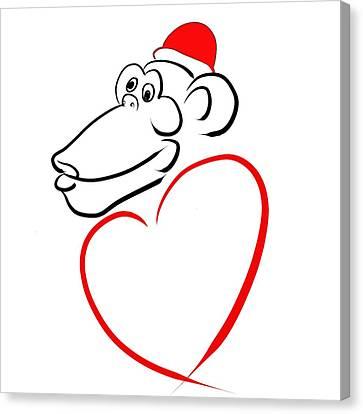 Year Of The Monkey Canvas Print - Monkey With Love by Alexandr Az