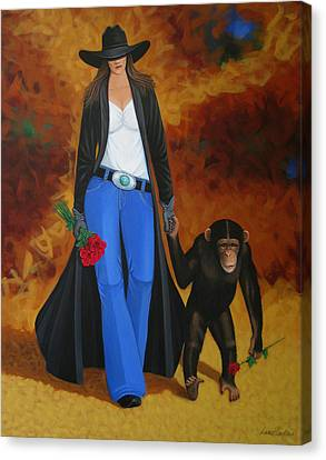 Contemporary Cowgirl Canvas Print - Monkeys Best Friend by Lance Headlee