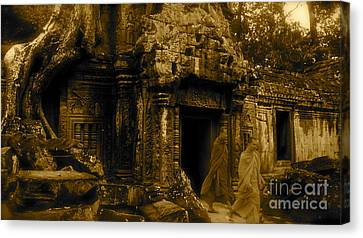 Monks Leaving Angkor Wat Canvas Print