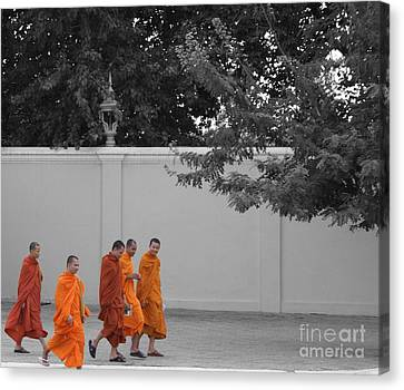 Monks On The Way Home Canvas Print