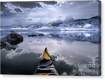 Mono Lake Winter Kayak Canvas Print by Buck Forester
