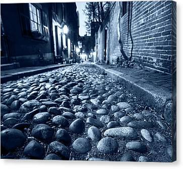 Monochrome Blue Acorn Street Cobblestone Detail Boston Ma Canvas Print by Toby McGuire