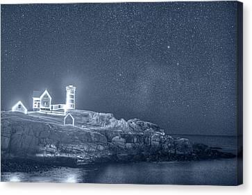 Monochrome Blue Starry Sky Of The Nubble Light In York Me Cape Neddick Canvas Print