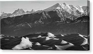 Monochrome Morning Sand Dunes And Snow Covered Peaks Canvas Print by James BO Insogna