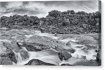 Babbling Canvas Print - Monochrome Panorama Of Pedernales Falls State Park - Texas Hill Country by Silvio Ligutti