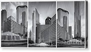 Hyatt Hotel Canvas Print - Monochrome Triptych Of Downtown Houston Buildings - Harris County Texas by Silvio Ligutti