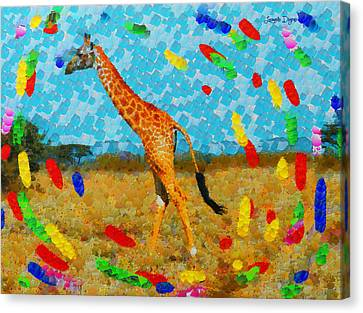 Monogiraffe Colorful - Da Canvas Print
