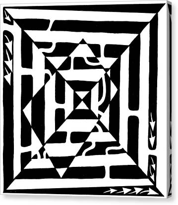 Monolith Maze Optical Illusion Canvas Print by Yonatan Frimer Maze Artist