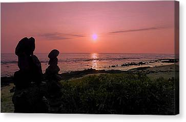 Canvas Print featuring the photograph Monoliths At Sunset by Lori Seaman