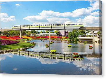 Monorail Cruise Over The Flower Garden. Canvas Print