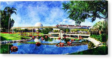 Canvas Print featuring the digital art Monorail Red - Coming 'round The Bend by Sandy MacGowan