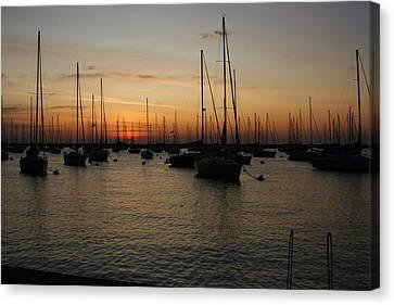 Monroe Harbor Sunrise Canvas Print by Gregory Jeffries