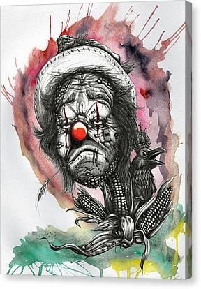 Monsanto's Sad Clown Corn Affair Canvas Print by Tai Taeoalii