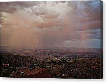 Canvas Print featuring the photograph Monsoon Lightning And Rainbow by Ron Chilston