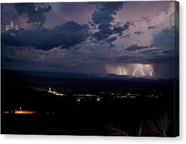 Canvas Print featuring the photograph Monsoon Lightning Over Sedona From Jerome Az by Ron Chilston