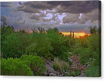 Canvas Print featuring the photograph Monsoon Sunset H56 by Mark Myhaver