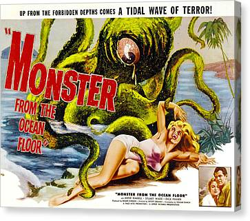 Horror Fantasy Movies Canvas Print - Monster From The Ocean Floor, Anne by Everett