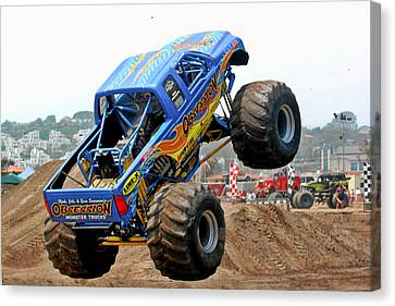 Monster Trucks - Big Things Go Boom Canvas Print by Christine Till