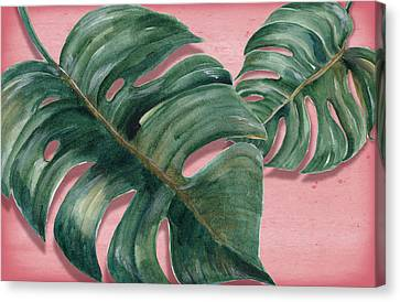 Red Leaf Canvas Print - Monstera Leaf  by Mark Ashkenazi